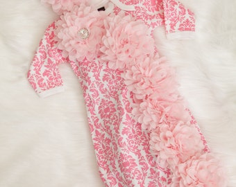 Pink Damask Infant Layette Cotton Baby Gown with Chiffon Flowers and Rhinestones