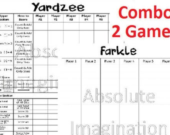 SALE! PRINTABLE. Yardzee & Farkle Score Card. Yardzee Board. Farkle Board. Lawn Yahtzee Farkle Combo Score Card. Digital Download