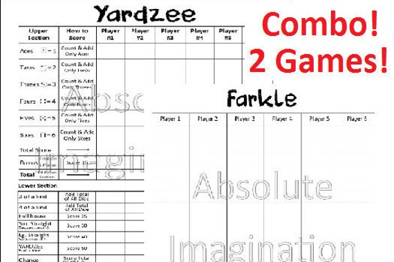 Sale Printable. Yardzee & Farkle Score Card. Yardzee Board.
