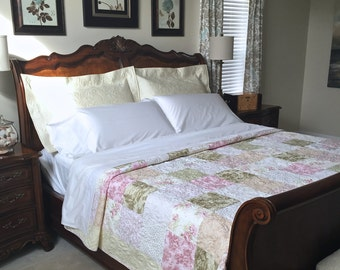 King Patchwork Quilt with Floral Prints Custom Made Heirloom King Size Bed Quilt
