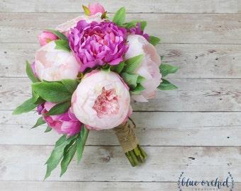 Peony Bouquet, Wedding Bouquet, Silk Peonies, Silk Flowers, Flower Arrangement, Pink Peony Bouquet, Peonies, Silk Bouquet, Wedding Bouquet