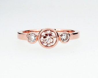 Morganite and 0.30ct Diamond trinity engagement ring made from rose gold, three stone ring, peach morganite, bezel, unique, gold engagement