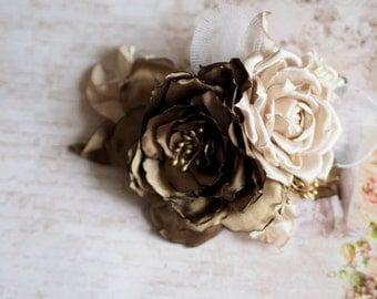 Gold Hair Flower, Gold Brooch Flower, Gold Hair Flower, Satin Hair Flower, Gold Fascinator, Gold Hairpiece, Gold Head piece, Elegant Bride