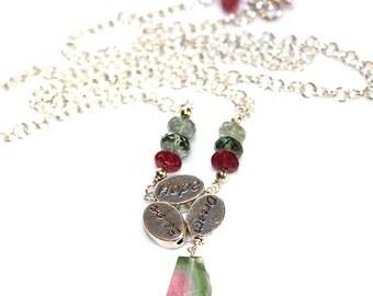 Dream Believe Hope Necklace Inspirational Jewelry Rustic Watermelon Tourmaline Necklace Raw Gemstone Believe Necklace Dream Necklace Slice