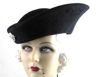 Womens Hat Black Velour Fur Felt Fin Handmade Hat Church Cloche Mother of the Bride Derby Ascot Races Art Deco Custom Made for Each Client