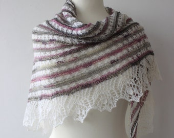 Multi colored triangular lace shawl in pink, gray and white shades