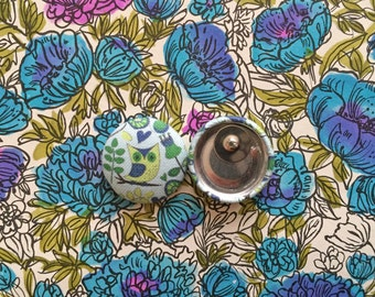 Fabric Cover Button Earrings / Owl / Wholesale Jewelry / Small Studs / Bulk Earrings / Gifts for Her / Handmade USA / Cute / Manhattan Hippy