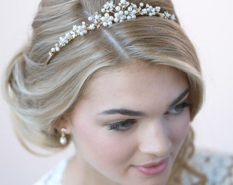 Pearl Gold Tiara, Bridal Hair Accessory, Gold Tiara, Pearl Bridal Crown, Wedding Crown, Bridal Headpiece, Rhinestone Bridal Tiara ~TI-723