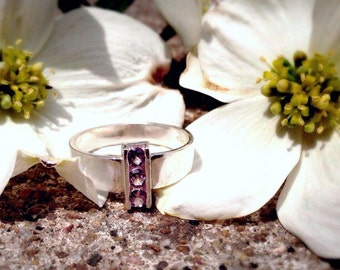 Three-Stone Alexandrite Ring, Sterling Silver Statement Ring, June Birthstone