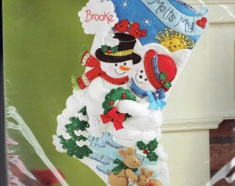 "Sale ~ Bucilla Felt Christmas Stocking Kit NEW ~ ""Your Love Melts My Heart"""