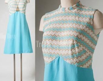 Mod Dress, Vintage Turquoise Dress, Mad Men Dress, Go Go dress, 60s dress, mini dress - S/M