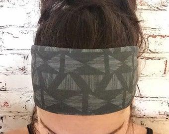Yoga Headband - Zen Angles - Black - Eco Friendly - Boho Style