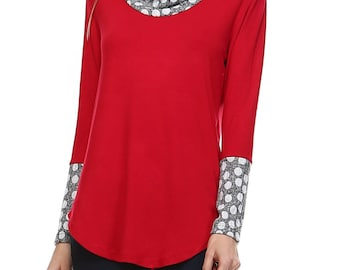 Long Sleeve Top with Contrast Dot