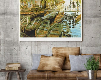 Counted Cross Stitch PATTERN Bathing by Claude Monet, Cross Stitch Chart