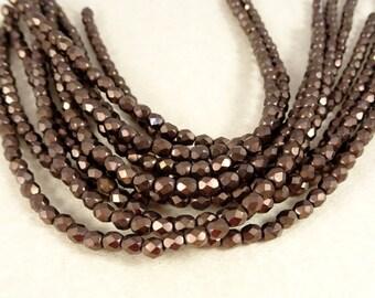 Czech Beads, 4mm Czech Glass Fire Polished Beads - Matte Bronze Metallic (FP4/SM-M14415) - Qty 50