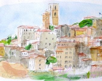 Original PROVENCE WATERCOLOR village - Grasse - Original watercolour painting - wall art