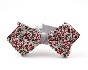 Self Tie Bow Tie Floral Bow Tie Freestyle Bow Tie Double Sided Bow Tie for Men Grey Bow Tie Burgundy Slim Diamond Point Bow Tie Mens BowTie