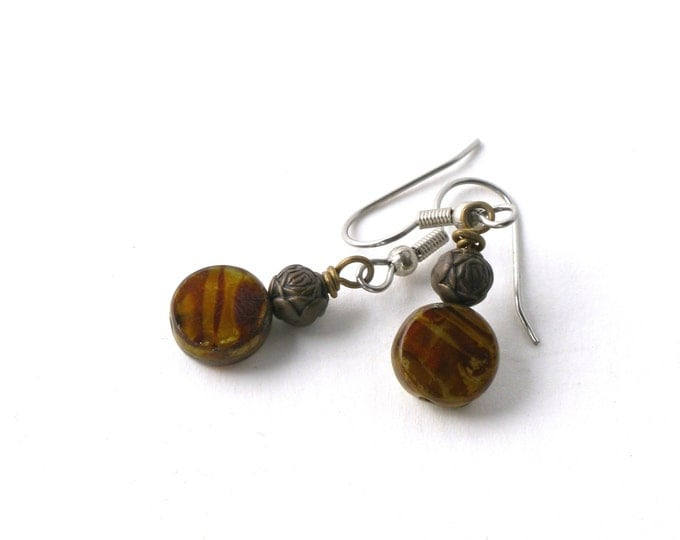 Czech Flat Round Picasso Glass Bead and Antiqued Brass Flower Beads on Brass Wire Earrings with Stainless Steel or Sterling Silver Ear Wires