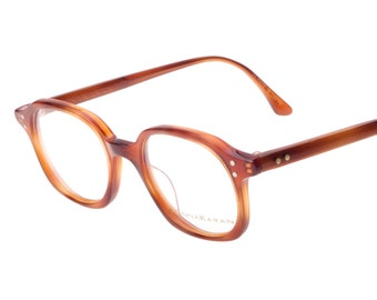 Donna Karan NY retro 40s squared geek handmade in Japan honey havana eyeglasses frames