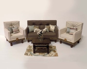 "OAKK 18"" Doll Mid-Century Living Room Set"