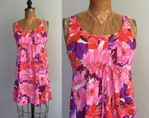 Vintage 1960s Slip / 60s 70s Mod Megan Draper Hot Pink Floral Purple Orange Nylon Full Mini Dress Dream Slip - Small