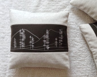 "Mountains Pillow Cover 16""x16"" - Statement Throw - Textile Accent - Woodland Textile - Dorm Decorations - Traveler Decor - Traveler Gift"