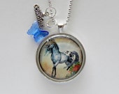 Appaloose Horse Necklace, Horse and Rose Necklace, Horse Photo Pendant, Cowgirl Jewelry, Gifts, Equestrian Gifts, Gifts for Horse Lover