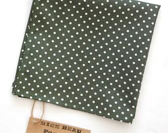 Olive Green and White Polka Dot Pocket Square | Groom | Prom