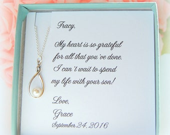 Mother of the Groom, Mother in law gift, Silver twist necklace, Bridal jewelry,  wedding jewelry