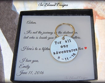 PERSONALIZED Groom gift, Grooms gift, Wedding date keychain, Personalized keychain, To groom from bride on wedding day