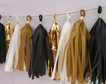 New Year's Eve Black and Gold 20 Tassel Tissue Paper Garland, Gold Party Decorations, Tissue Tassels, Wedding Decorations, New Years Eve