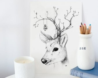 Giclee Art print illustration deer head child playing cute A4