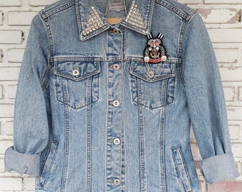 Hand Reworked Studded Vintage Jean Jacket / Hand Reworked Studded Vintage Denim Jacket Women Size M