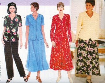 Butterick 4875, Misses Sizes 20W, 22W and 24W,Button Down Front Long Dress, Top, Slightly Flared Skirt, Straight Leg Pants, Delta Burke