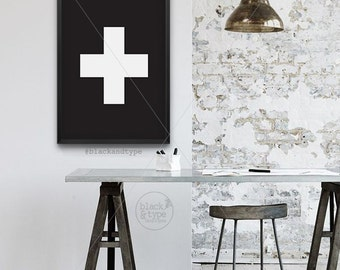 Swiss Cross || typography art print, swiss cross print, scandinavian art, cross print, minimalist poster, black and white print