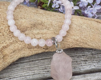 Rose Quartz beaded pink bracelet