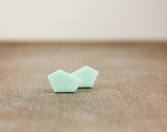 Mint geometric minimalist clay stud earrings, pastel modern contemporary jewelry