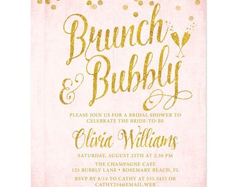 Blush Pink and Gold Brunch & Bubbly Invitations - Personalized DIY Printable File For Printing On Your Own Bridal Shower Invitations