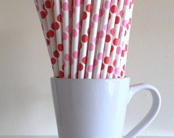 Red and Pink Paper Straws Pink and Red Polka Dot Straws Peppa Party Supplies Baby Shower Party Decor Bar Cart Accessories Graduation