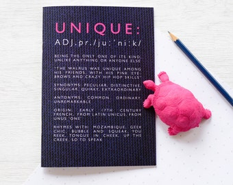 FUNNY 'UNIQUE' NOTEBOOK English Definition Hot Pink Blue Knitted Wool Back School Teacher Stationery Gift Teenager Stocking Filler Stuffer