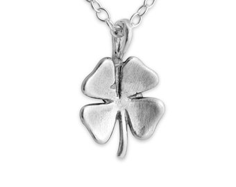 Vintage Irish Lucky Four Leaf Clover Charm Pendant Necklace #925 Sterling Silver #Azaggi N0080S