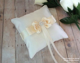 Ivory Ring Pillow, 6x6  Ring Pillow, Ring Bearer, Ivory Satin Pillow, Butterfly rhinestone Ring Bearer, Bow Wedding Ring Pillow