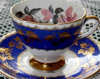 Gladstone Teacup Blue with Pink Magnolia Blossoms