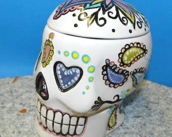 Ceramic Sugar Skull Box