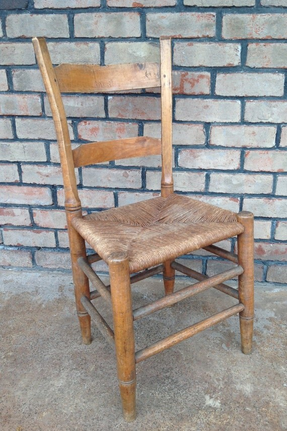 Vintage Rush Seat Ladder Back Chair Petite Chair Desk Chair