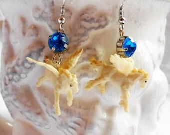 Pegasus Dangle Earrings - Rhinestone Earrings - Pegasus Jewelry - Miniature Pegasus - Pegasus Earring - Free Shipping - Winged Horse Earring