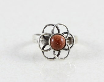 Sterling Silver Gold Stone Ring size 5 1/2