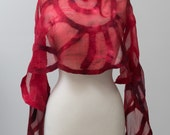 Nuno felted scarf, felted scarf, felt scarf, nuno felt, wool, silk, Red, spiral pattern