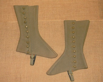 Authentic Antique Girls Spats in Lovely Light Olive Green Colored Wool - Outstanding Condition - Original Victorian or Edwardian Era