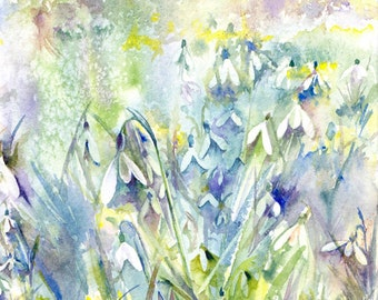 Snowdrop walk - original watercolour painting